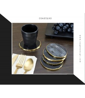 Agate Black & Gold Coster